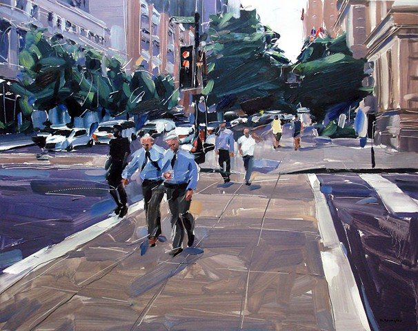 """'Martin St. Downtown Raleigh'  24""""x30"""" Oil on wood"""