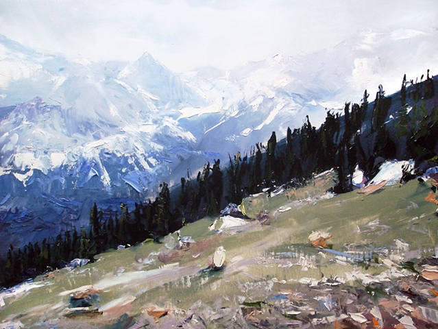 "Exempla Cardiovascular Healthcare Clinic  'The Rocky Mountains. Colorado' 18""x24"" Oil on wood"