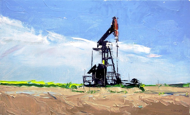 """'1 Oil Pump' 12""""x20"""" Oil on wood"""