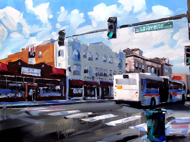 "'Lafayette & Colfax. Denver, CO'  36""x48"" Oil on canvas"