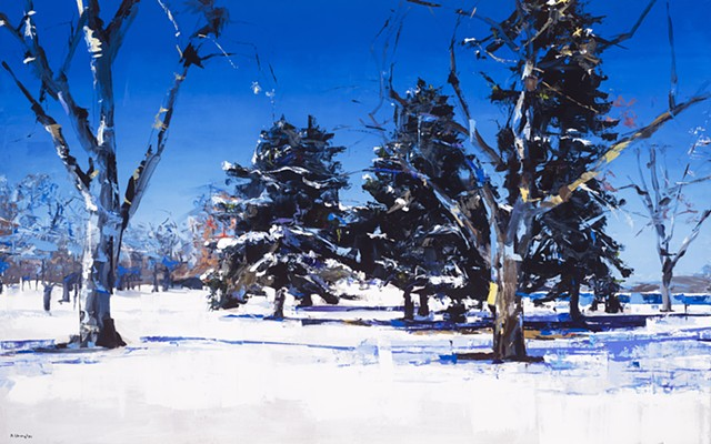 "'City Park' Denver, Colorado 30""x48"" Oil on wood"