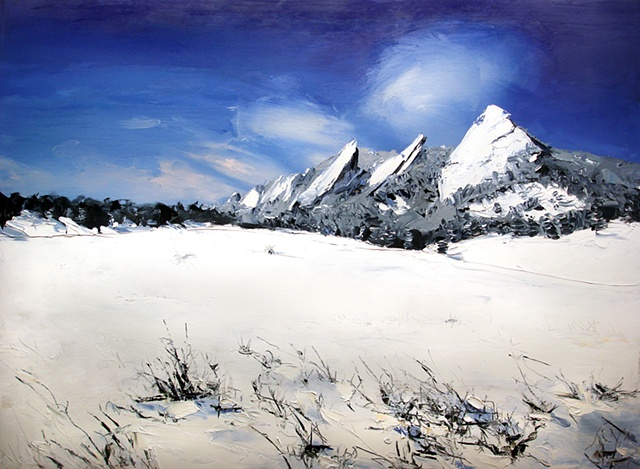 "Donation to Mile High Ministries Boulder, Colorado. Flat Irons Snow   21""x27"" Oil"