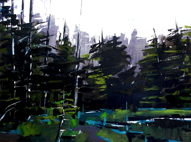 "'Nymph Lake. Rocky Mountain National Park. CO' 35""x48"" Oil wood."