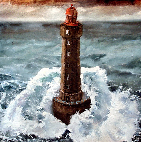 "France. Lu Jament Lighthouse 20""x20"" Oil"