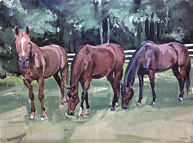 "'3 Horses. Dane, Ali and Vegas' 33""x44"" Oil on wood"