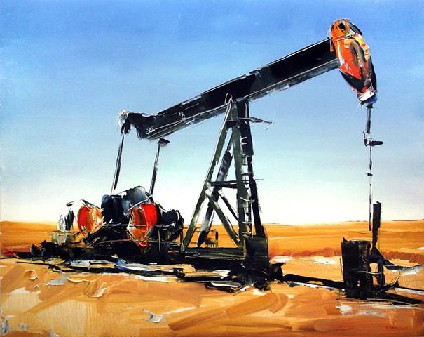 "'Kansas Oil Rig' 24""x30"" Oil on wood"