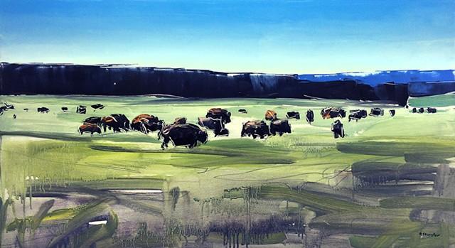 "'Buffalo Herd. Yellowstone, WY 20""x36"" Oil on wood"