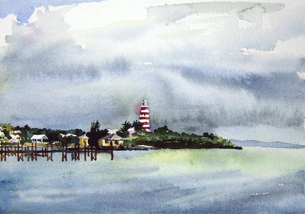 "Bahamas. Lighthouse Cloud  6""x9"" Watercolor"