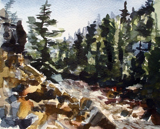 """Colorado. Boulder Creek  8""""x9"""" Watercolor"""