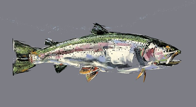 "'Rainbow Trout'  20""x36"" Oil on wood"