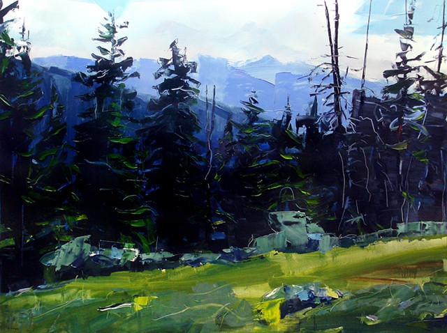 "'Holy Cross Wilderness, Colorado'  36""x48"" Oil on wood 2014"