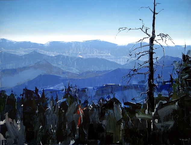 """'Smokey Mountains. North Carolina' 30""""x40"""" Oil on wood Commission for: East West Partners Management Company. Chapel Hill. NC"""