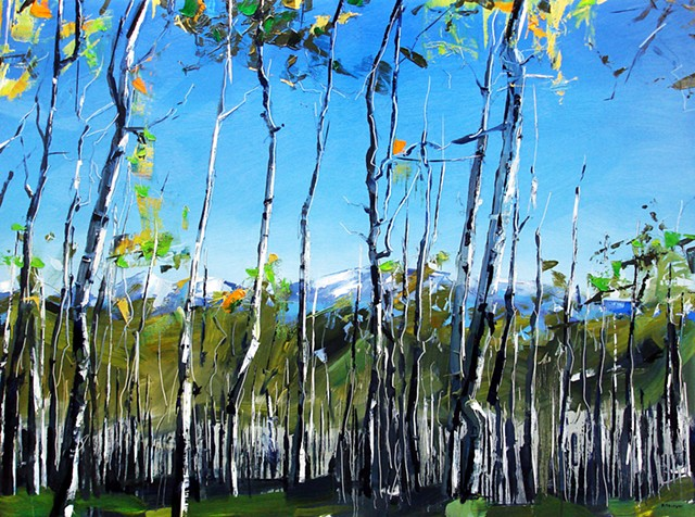 "'Aspen Forest. Telluride, CO'  36""x48"" Oil on wood"