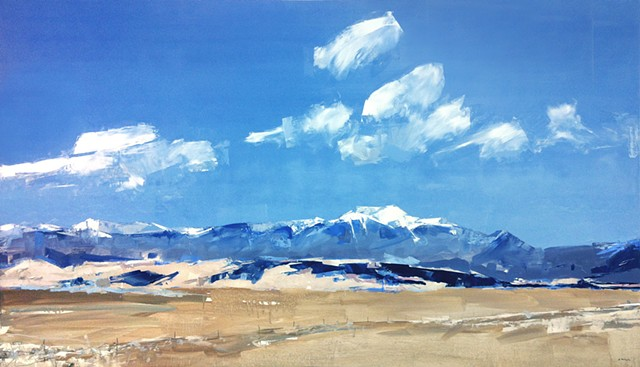 """'Mt. Herard of the Sangre de Cristo' San Luis Valley, Colorado.  48""""x84"""" Oil on wood   Commission painting purchased by TriZetto Healthcare."""