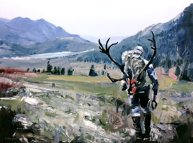 "'Stephen West Hunting' 24""x32"" Oil on wood"