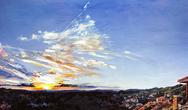 "'Colorado Sunrise'  17""x30"" Oil on wood"