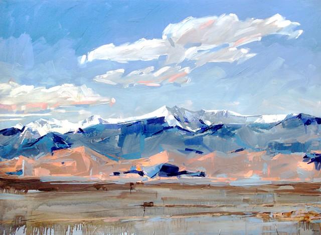 """'Mt. Herard of the Sangre de Cristo' San Luis Valley, Colorado. 48""""x66"""" Oil on wood."""