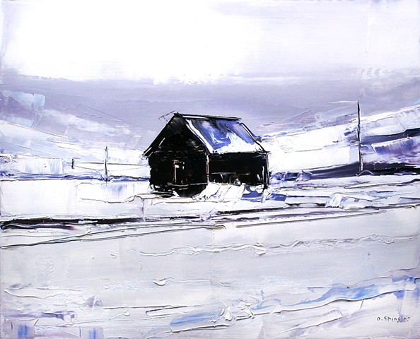 "'Cabin in the snow. Kremling, CO' 16""x20"" Oil on wood"