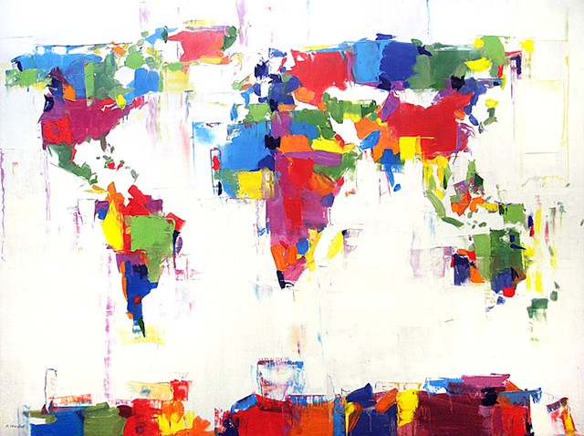 "'World Map Colors'  36""x48"" Oil on wood"