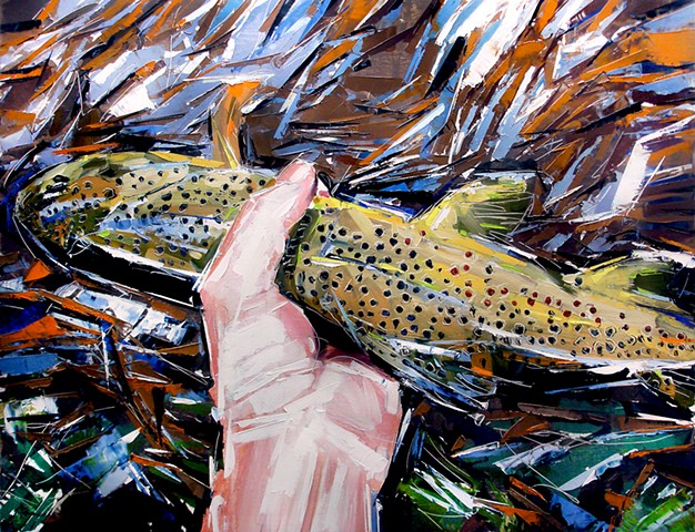 "'Colorado Brown Trout'  35""x48"" Oil on wood"