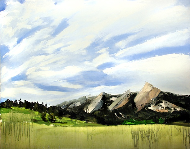"Boulder Colorado. 3 Flat Irons 21""x27"" Oil"