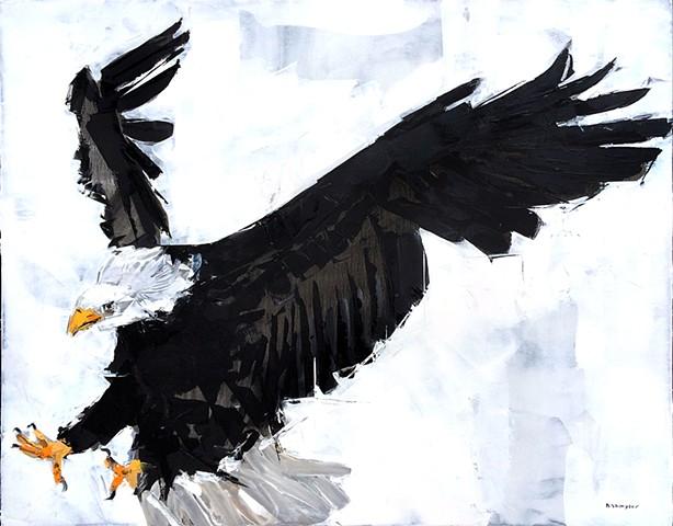"""'Eagle 2' 24""""x30"""" Oil on wood"""