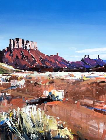 """'Moab Plateaus. Utah'  36""""x48"""" Oil on wood"""
