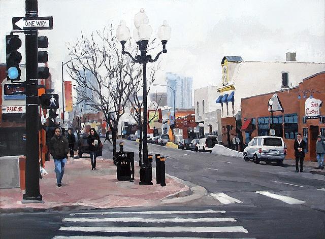 "Denver, Colorado. Santa Fe St.  33""x40"" Oil"