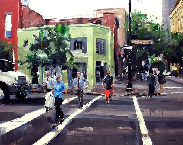 "'Corner of Hargett & Wilmington St. Raleigh' 24""x30"" Oil on wood"