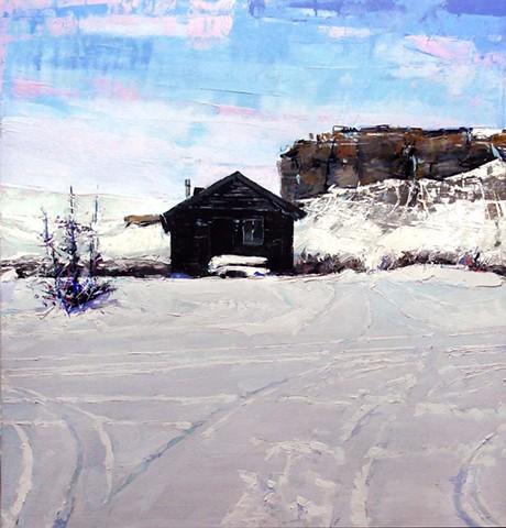 "Cabin. Kremmling, Colorado 29.5""x31"" Oil on wood."