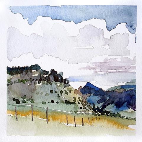 """Texas. Alpine  6""""x6"""" Watercolor"""