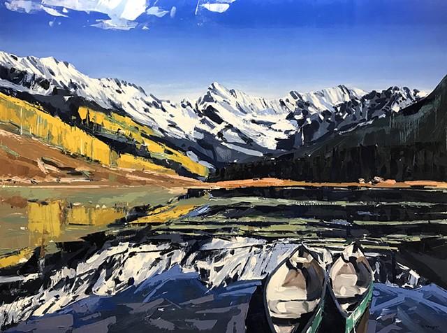 "'Piney Lake. Vail Colorado'  36""x48"" Oil on wood"
