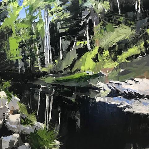 """'Mitchell River. Elkin NC' 48""""x48"""" Oil on wood"""