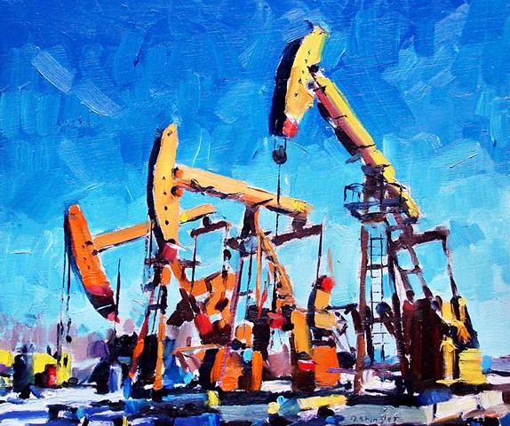 """Oil pumps. 10""""x12"""" Oil on wood"""