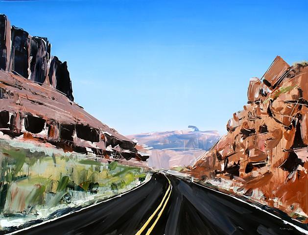"""'Winding Road. Utah' 30""""x40"""" Oil on wood"""