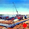 """'Natural Gas Plant. Eagle Ford, Texas'  Commission Painting purchased by SM Energy. Houston Texas.   60""""x96"""" Oil on wood"""