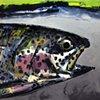 "Rainbow Trout'  30""x40"" Oil on wood"