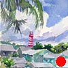 "Bahamas. Hopetown. Lighthouse  7""x5"" Watercolor"