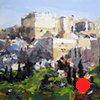 """'Mars Hill looking toward the Acropolis.  Athens, Greece.' 18""""x24"""" Oil on wood"""