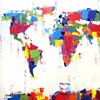 """'World Map Colors'  36""""x48"""" Oil on wood"""