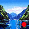 """'Fjords Norway'  42""""x54"""" Oil on wood"""