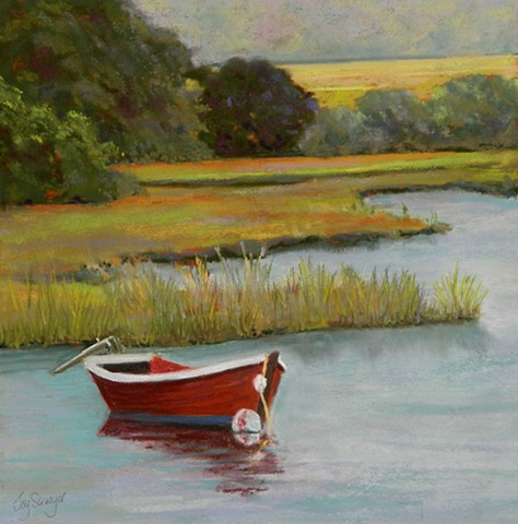 Red Boat in a Cape Cod Marsh