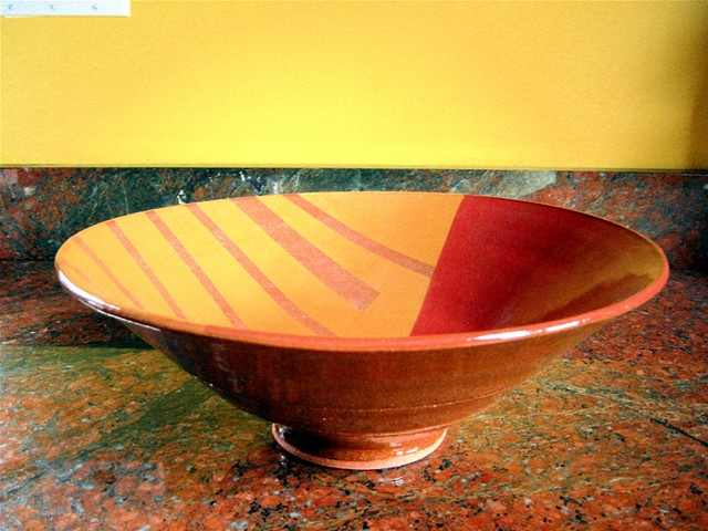 LARGE BOWL WITH GEOMETRIC PATTERNS