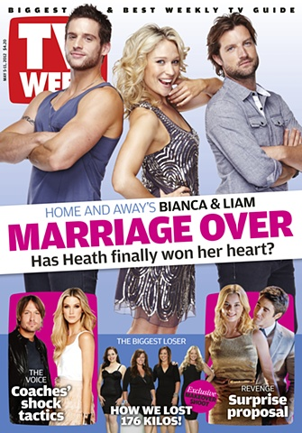 TV Week cover - Dan Ewing, Lisa Gormley, Axle Whitehead: Home and Away