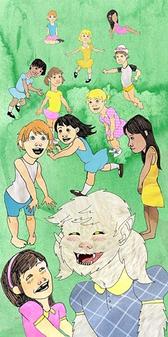 yeti magazine tallahassee florida poster art photoshop digital sasquatch bigfoot watercolor little girls cute henry darger