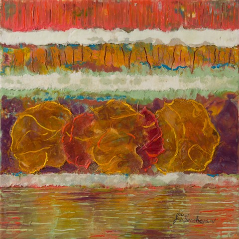 Rice paper with encaustic