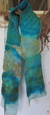 Silk and Wool Scaled Felt Scarf - Caribbean Blue and Rust