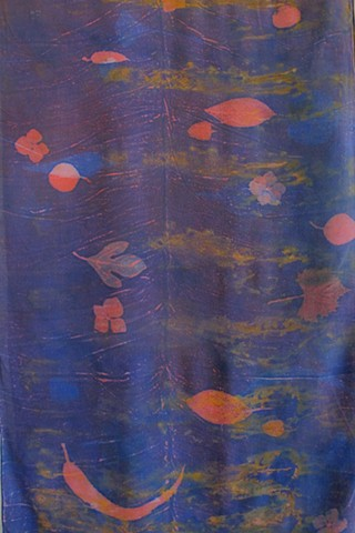 Extra large echo print silk wrap