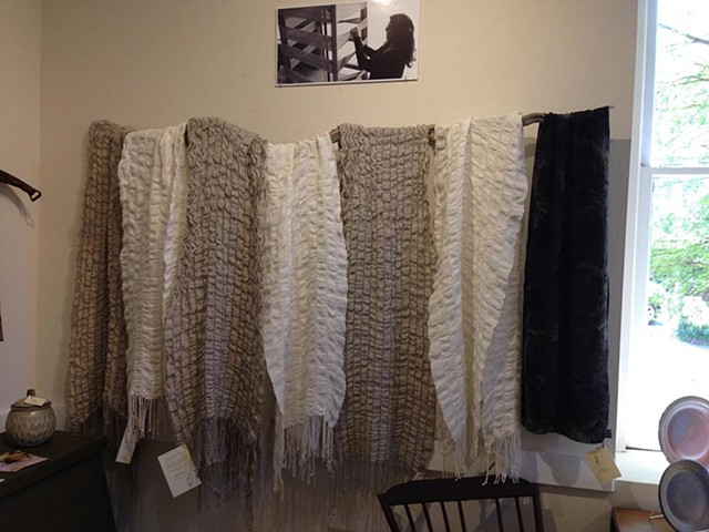 Linen & Wool Collapsed Weave Scarfs (Natural or White)