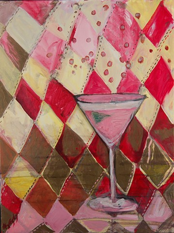 martini painting w diamond pattern